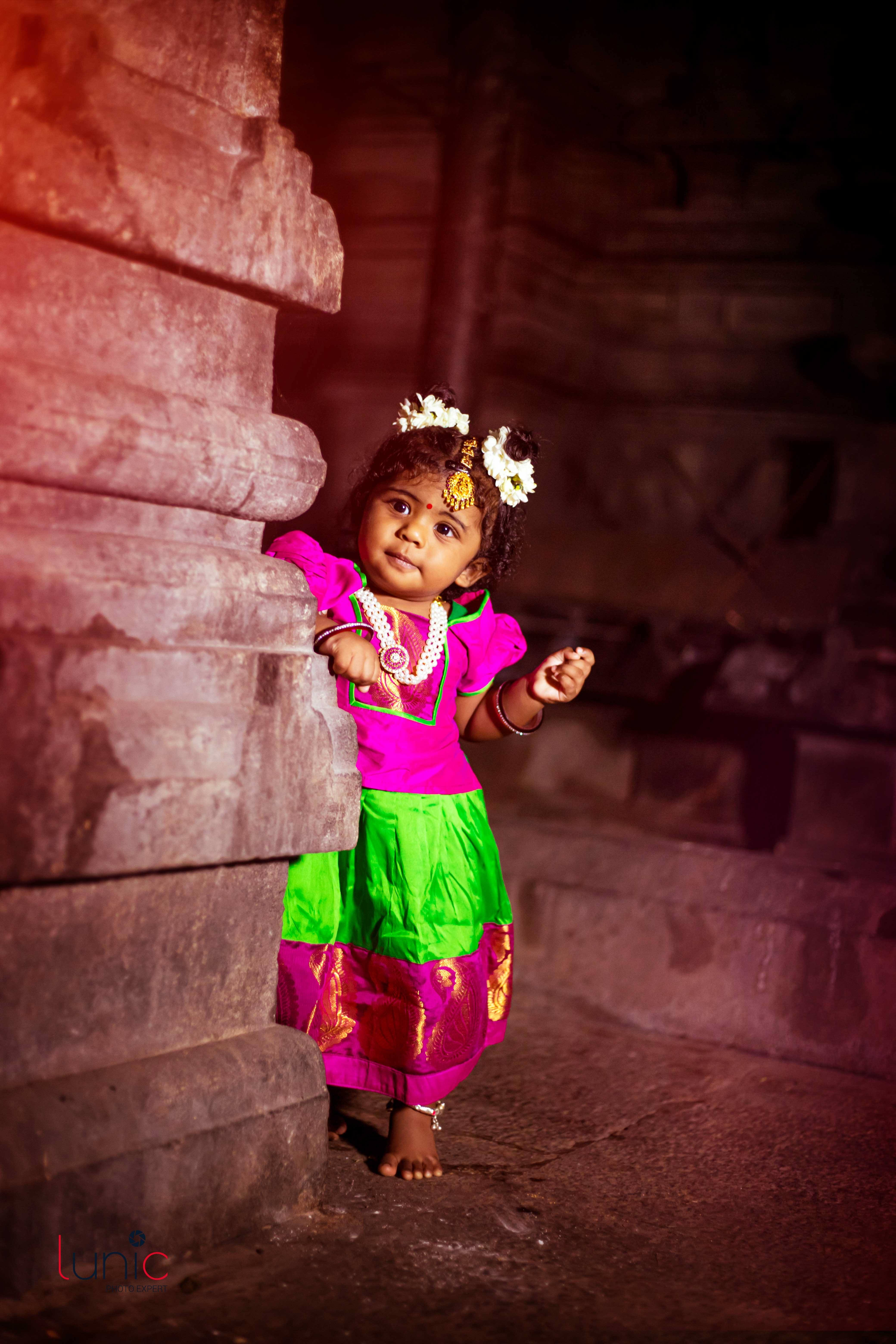 baby girl traditional dress photography idea