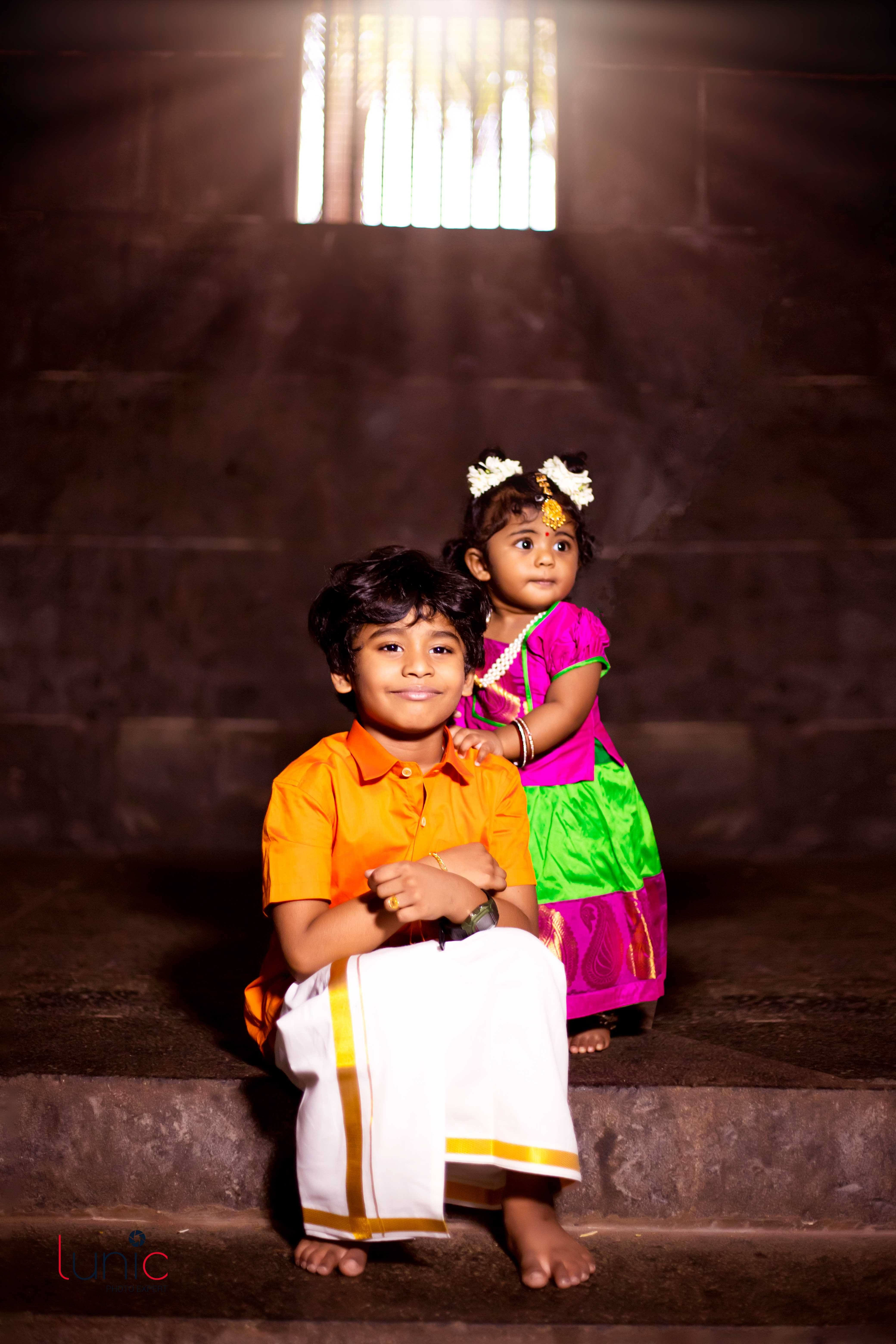 traditional son and daughter pose idea for photography