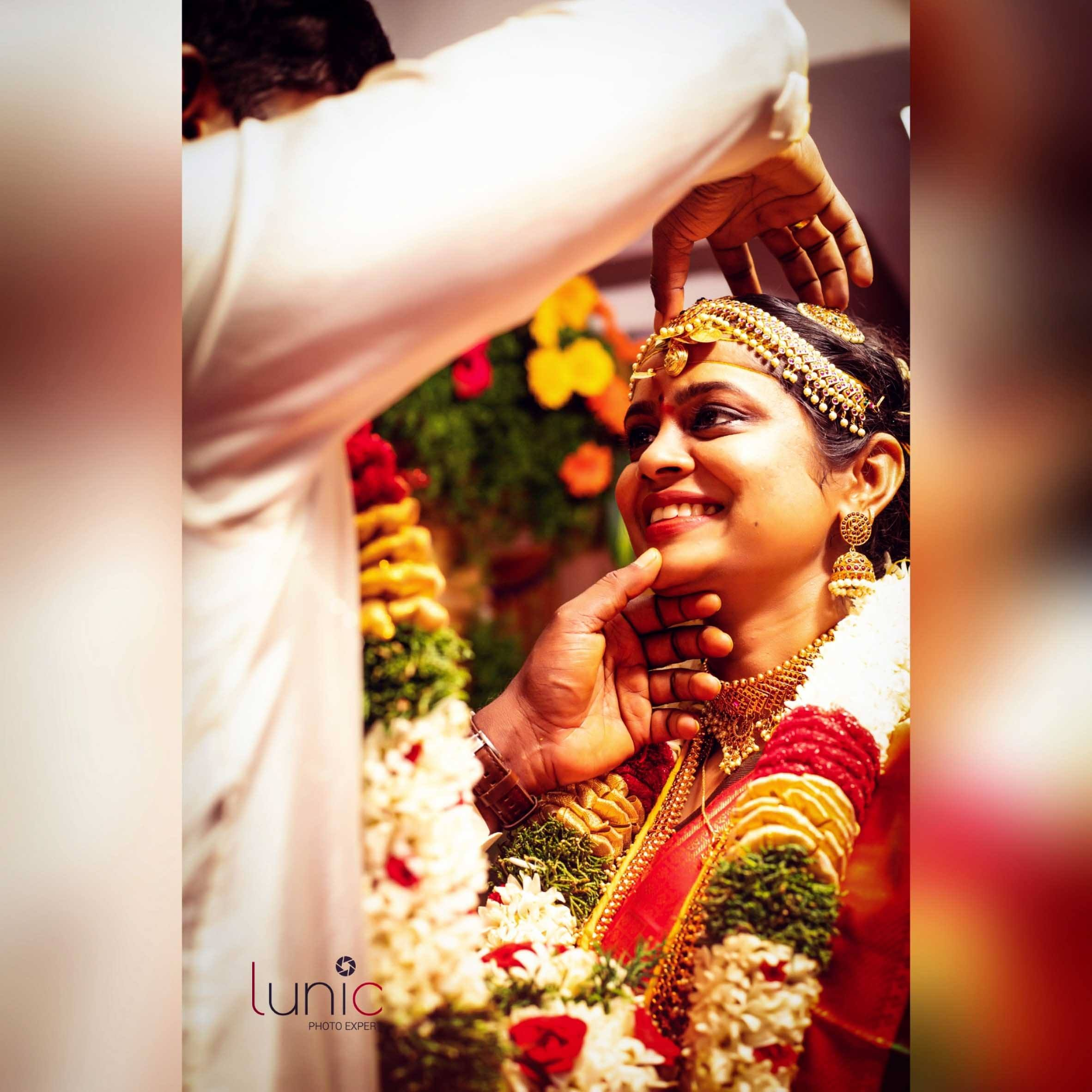 candid moment between  couple during wedding ceremony